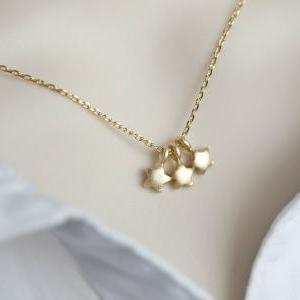 Tiny Star Necklace - Triple Star Necklace - Stars, Tree Tiny Gold Plated Stars Necklace, Modern, Minimalist Jewelry
