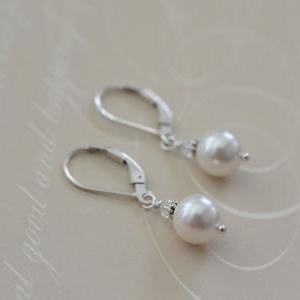 Bridal Earrings, Sterling Silver Earrings with White Swarovski Pearls