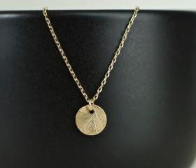 Gold Plated Brushed Coin Necklace