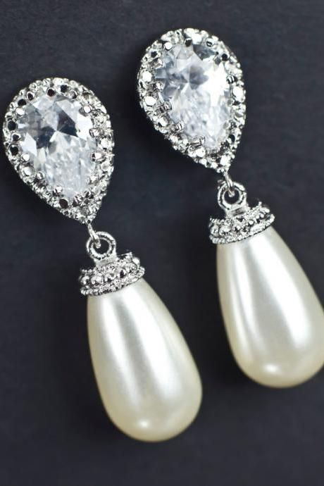 Bridal Earrings, Cubic Zirconia Bridal Pearl Earrings, Bridal, Bridesmaid Earrings Rhodium Plated CZ Ear Posts and Ivory Pearl Teardrops