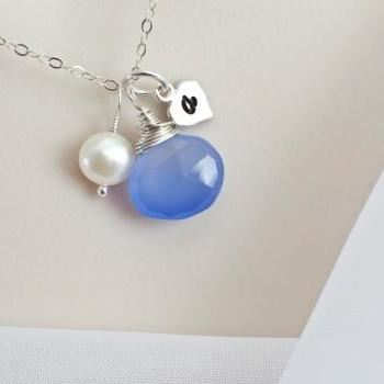 Custom Initial Necklace, Blue Periwinkle Chalcedony, Freshwater Pearl & Sterling Silver Heart Tag Initial Necklace, Personalized Necklace