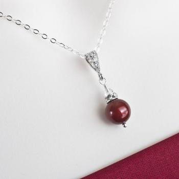 Bordeaux, Burgundy Pearl Necklace, Sterling Silver and Bordeaux Swarovski Pearl Necklace, Bridesmaids Necklace, Mother of the Bride Necklace