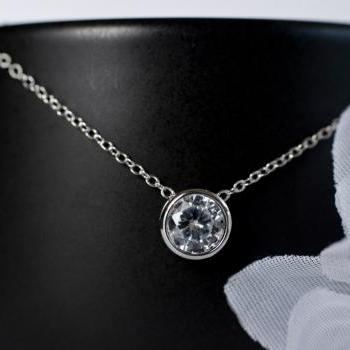 Cubic Zirconia Solitaire Necklace, Sterling Siver Necklace, Round Cubic Zirconia Slider, Bridal Necklace, Bridesmaid Necklace